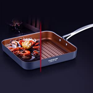 induction grill pan nonstick griddle pan skillet bake braise dishwasher oven copper cookware set