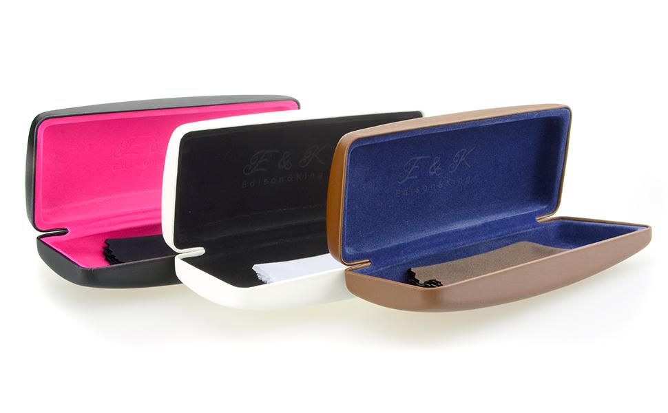 Edison & King Resistente Estuche para Gafas en Muchos Colores. También apropiado como Estuche para Gafas de Sol. Incluye paño para Limpieza de Gafas Gratis (Blanco/Azul): Amazon.es: Deportes y aire libre