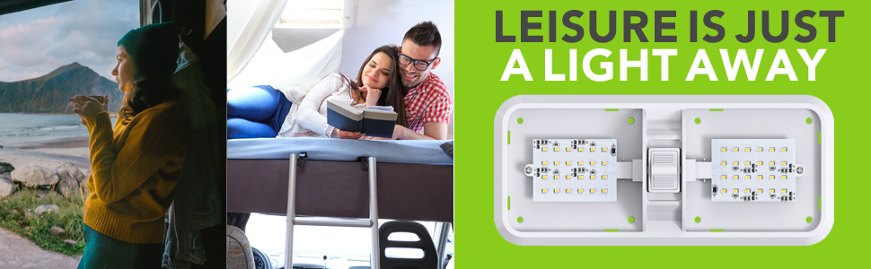 Leisure Is Just a Light Away Trailer Camper 5th Wheel Interior Ceiling Overhead Light Double Dome
