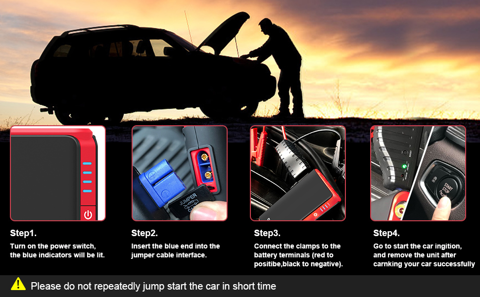Gooloo Quick Charge In Out 500a Peak Supersafe Car Jump Starter Up To 4 5l Gas Power Pack 12v Auto Battery Booster Portable Phone Charger