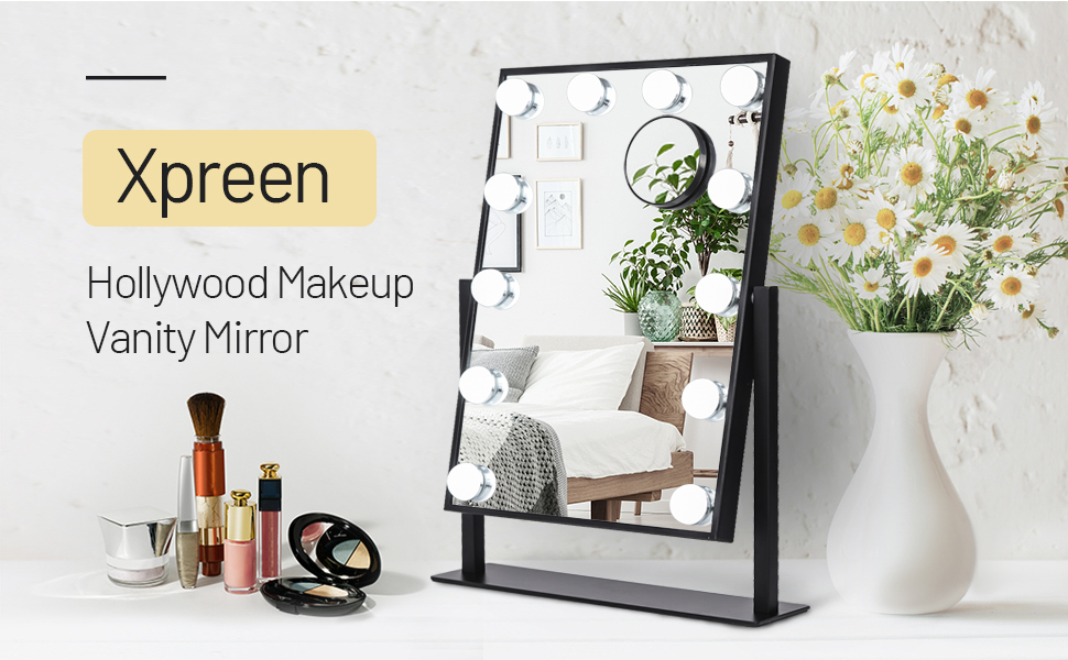 Lighted Makeup Mirror Hollywood Mirror Vanity Makeup Mirror with Light Smart Touch Control 3Colors