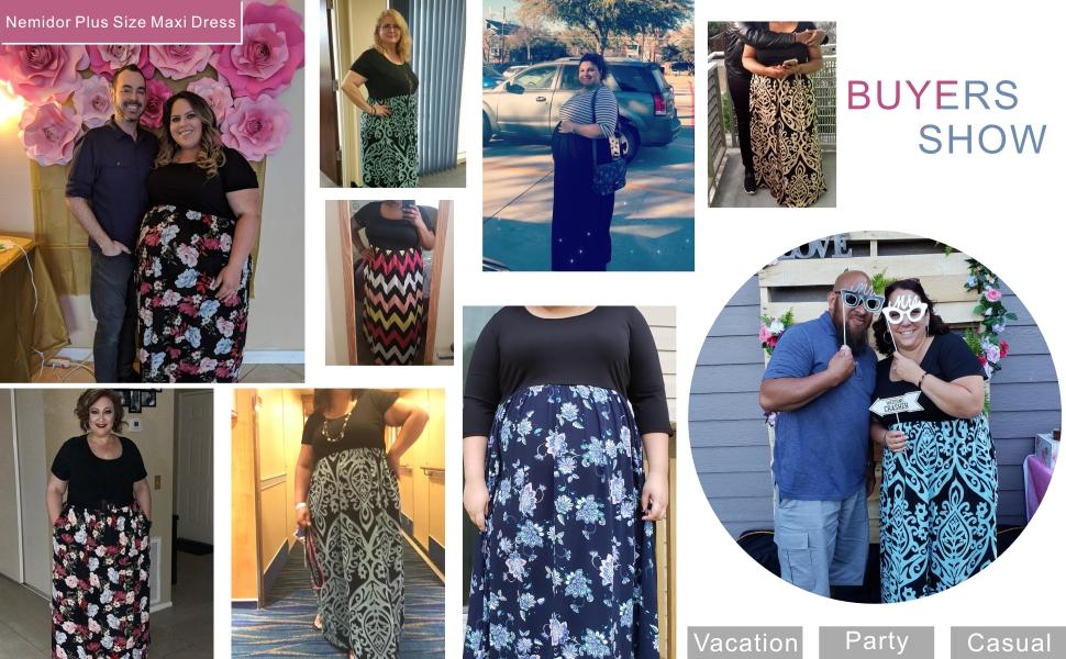 Nemidor Women's Chevron Print Plus Size Casual Maxi Dress