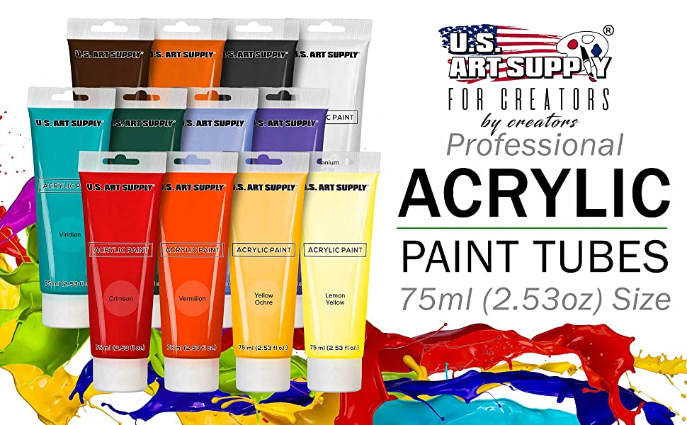 U.S. Art Supply Processional Acrylic Paint Tubes