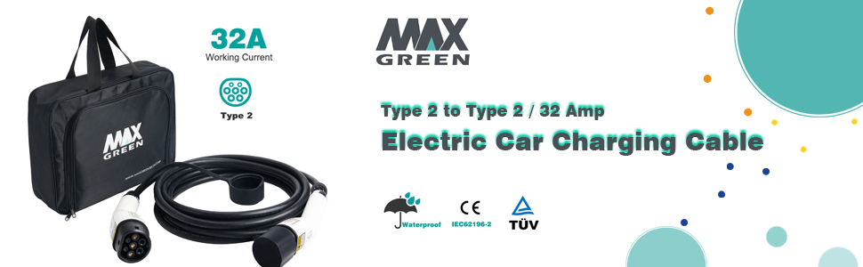 Type 2 to Type 2 MAX GREEN EV //Electric Car Charging Cable 16Amp//32Amp,17FT