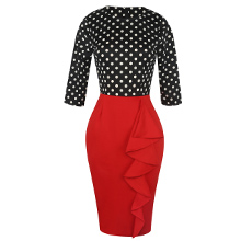 Women's Vintage Polka Dot Patchwork 3/4 Sleeve Work Party Pencil Dress
