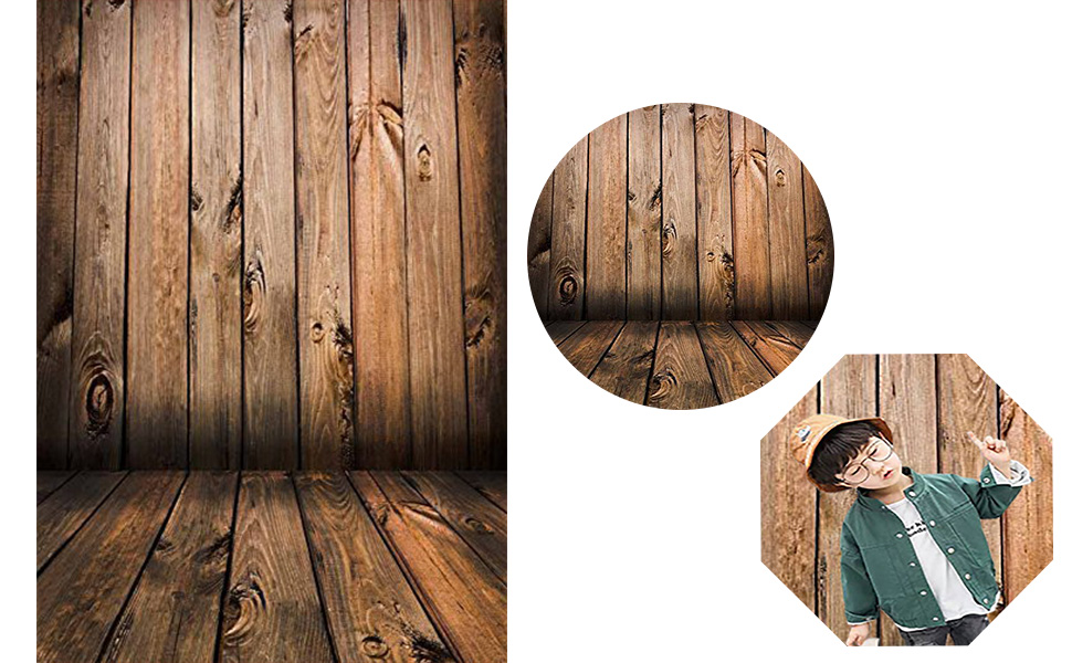 dozenla 49 x 31 Imitation Wood Grain Photography Props 3D Photo Background Cloth for Wedding Holiday Birthday Party