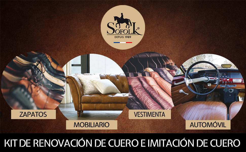 SOFOLK Kit de renovación de Piel de 21 Colores Disponibles: reparación + Pintura de Piel + Barniz para Volante o retoque de Asiento de Coche, Silla, ...