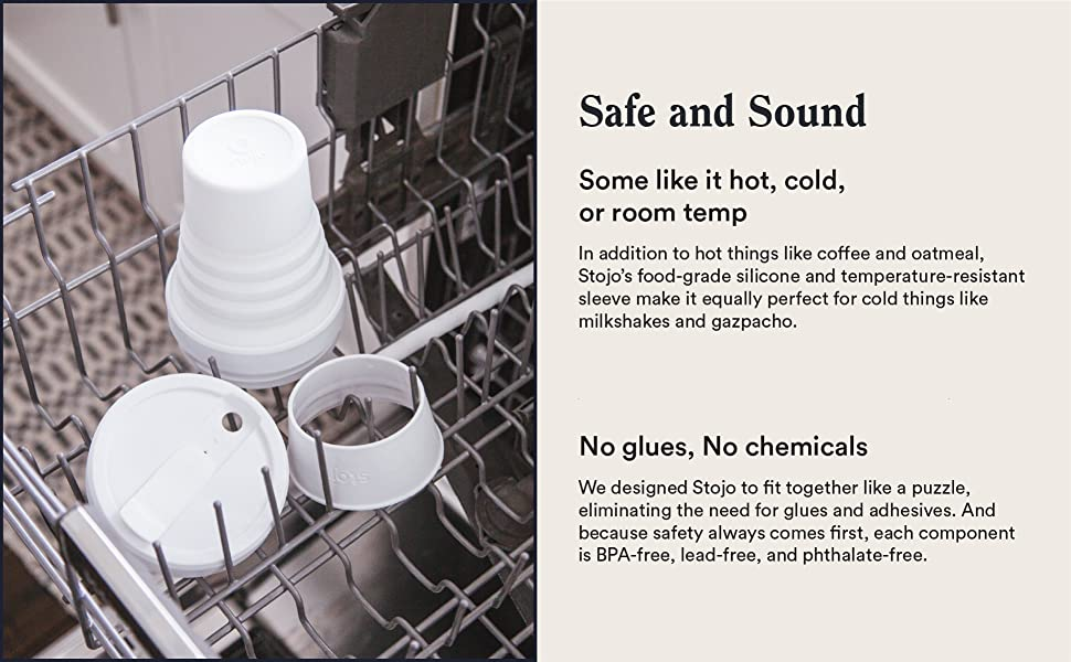 compact, leak-proof, hot, cold, beverages, food, dishwaser safe, silicone, stojo, reusable, cup