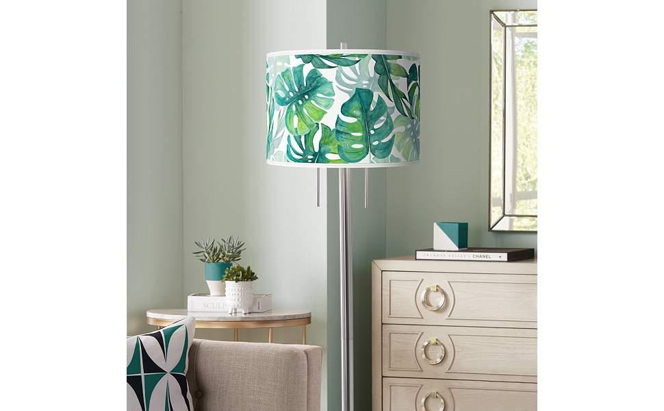 Tropica Giclee Brushed Nickel Garth Floor Lamp