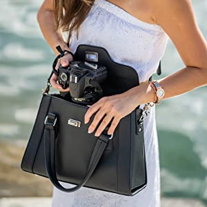 purple relic vegan leather camera bag purse women handbag DSLR case photography photo