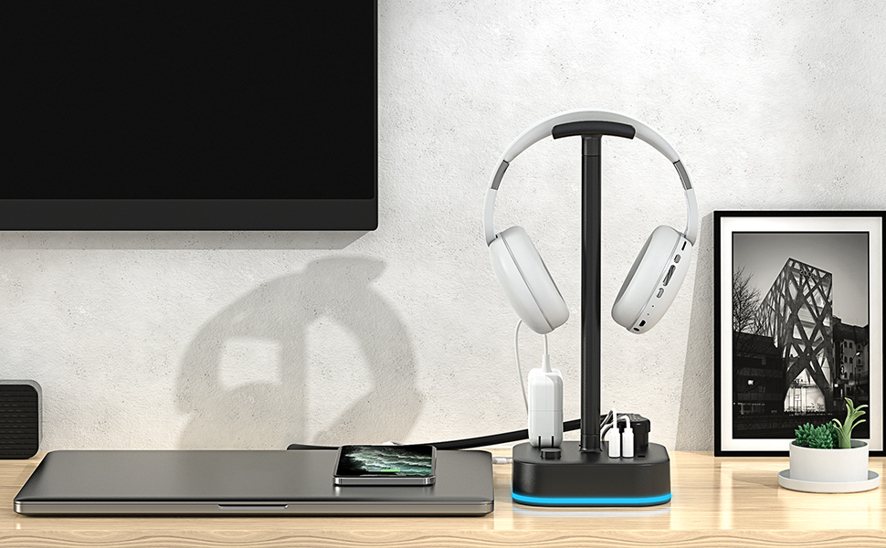 Headphone stand with USB charging ports and AC outlets