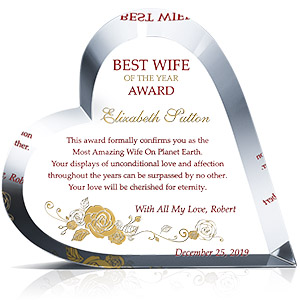 Personalized Heart Shape Crystal Best Wife of the Year Award