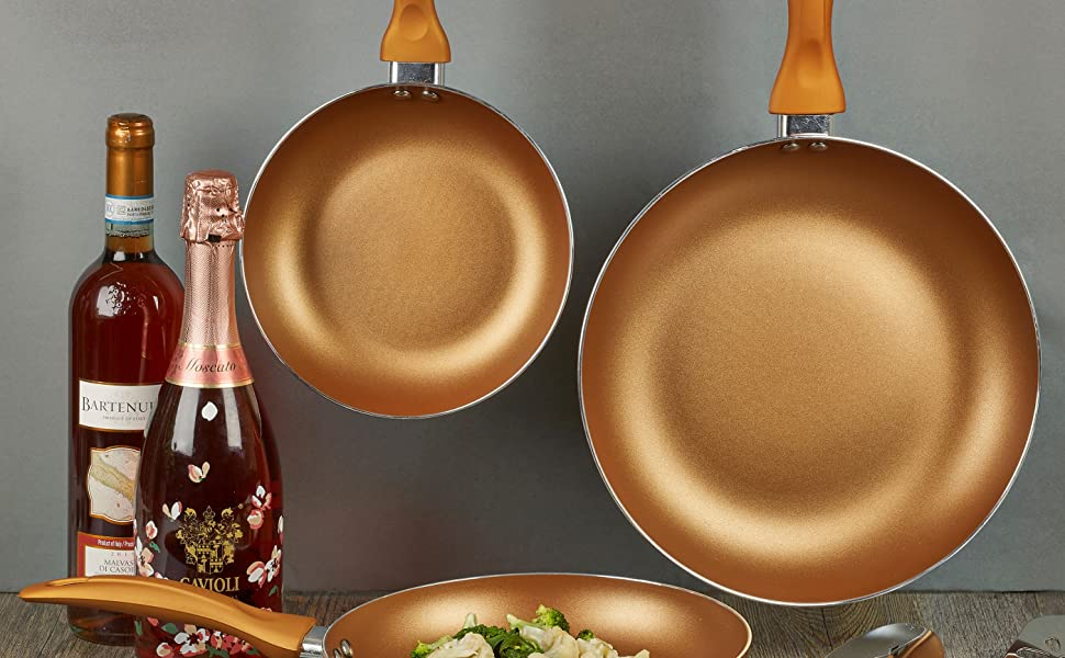 homiu copper pans convection frying cooking sets hang