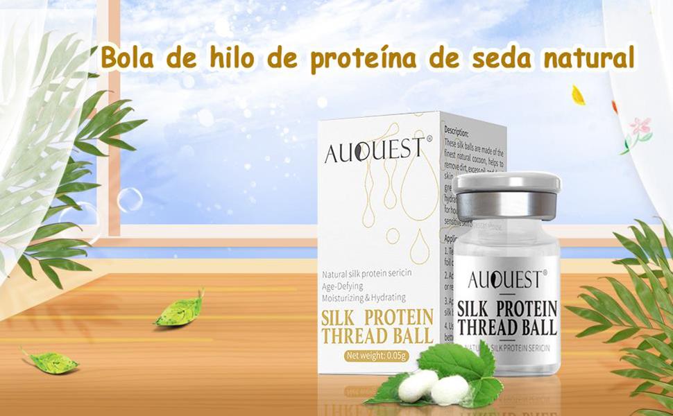 AJUMKER Bola de hilo de proteína de seda Proteína hidrolizada antiarrugas Cuidado de la piel Hidratante esencia antienvejecimiento Bola de seda ...