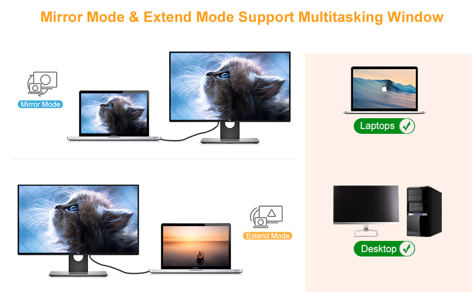 This HDMI Adatper enable connect Smartphone & PC to monitor, TV or projector.