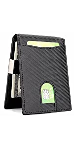 Slim Wallet with Clip, Carbon Fiber Black