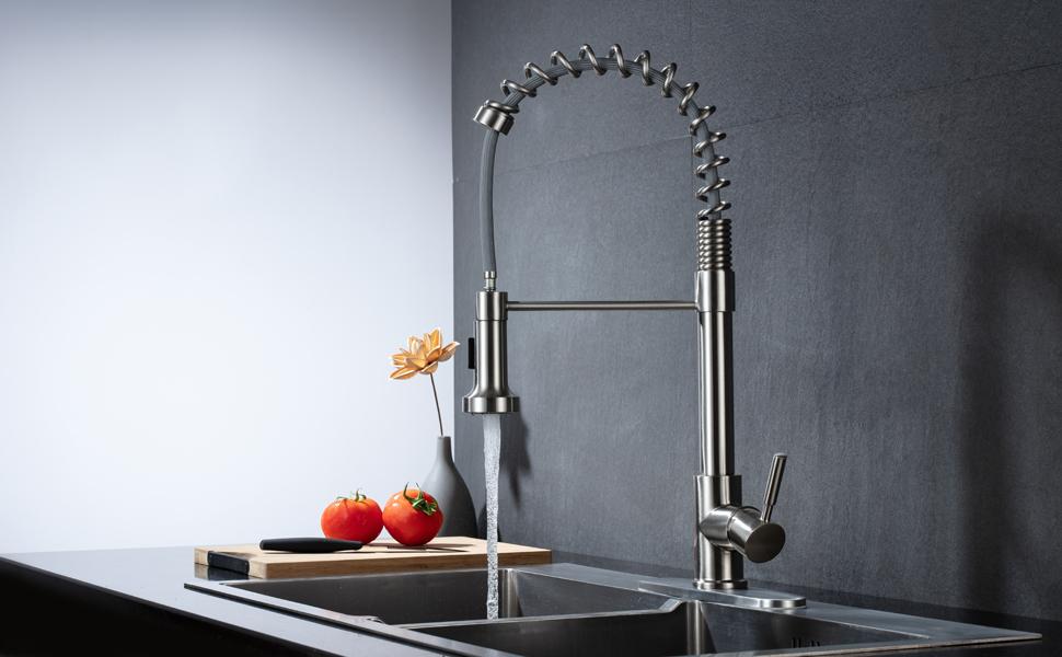 Kitchen Faucet With Sprayer Kitchen Faucets With Pull Down Sprayer Brushed Nickel Commercial Stainless Steel Pull Out Kitchen Sink Faucet Single Handle Amazon Com