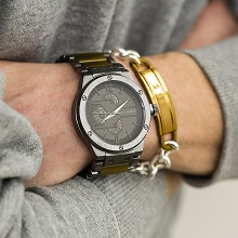 watch watches bracelet fashion set for men gift gifts black round dial band strap analog link buckle