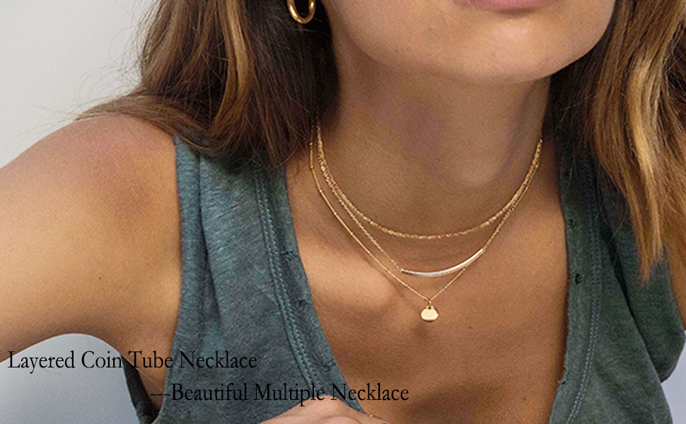 layered coin tube necklaces