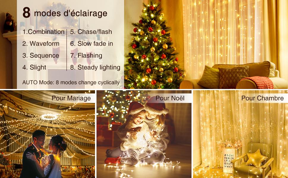 Fairy Lights Aliment/é par USB pour Mariage 3Mx3M Rideau Lumineux Timer Fonction 8 Modes Dimmable Blanche Chaude Chambre SOLMORE Guirlande Lumineuse 300 LEDs avec T/él/écommande Jardin Fen/être
