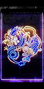 ADVPRO line-art LED neon sign light artwork man cave home decor-ation dragon Chinese tiger tattoo