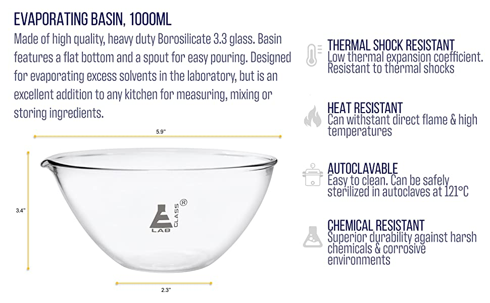 biochemistry pyrex evaporating prep bowl crystals short cup recrystallize paint mix bowl dish