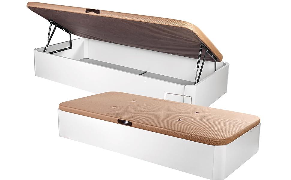 DHOME Canape Abatible Tapizado 3D con Apertura Lateral 4 válvulas Esquinas canapé Madera (90x190 Blanco, 22mm)