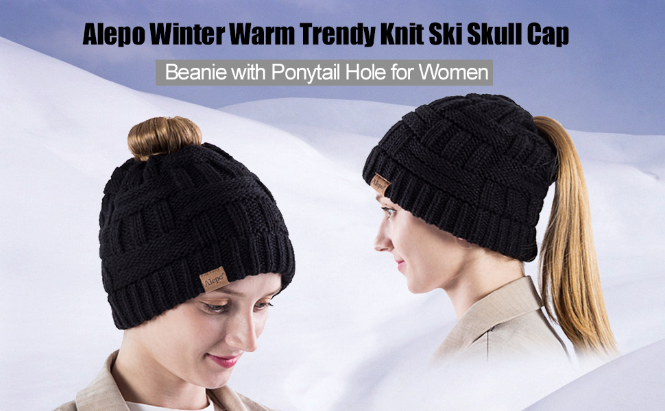 beanie with ponytail hole for women