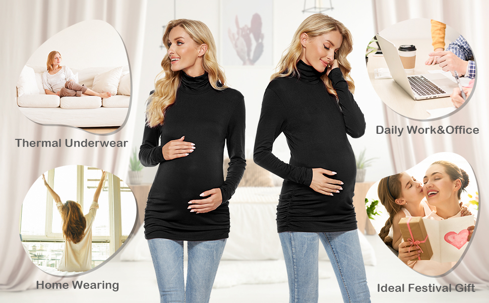 Long Sleeve Side Ruched Casual Pregnancy Tops Blouse