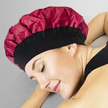 Black model with shower cap