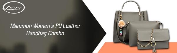 mammon women's pu leather handbag combo