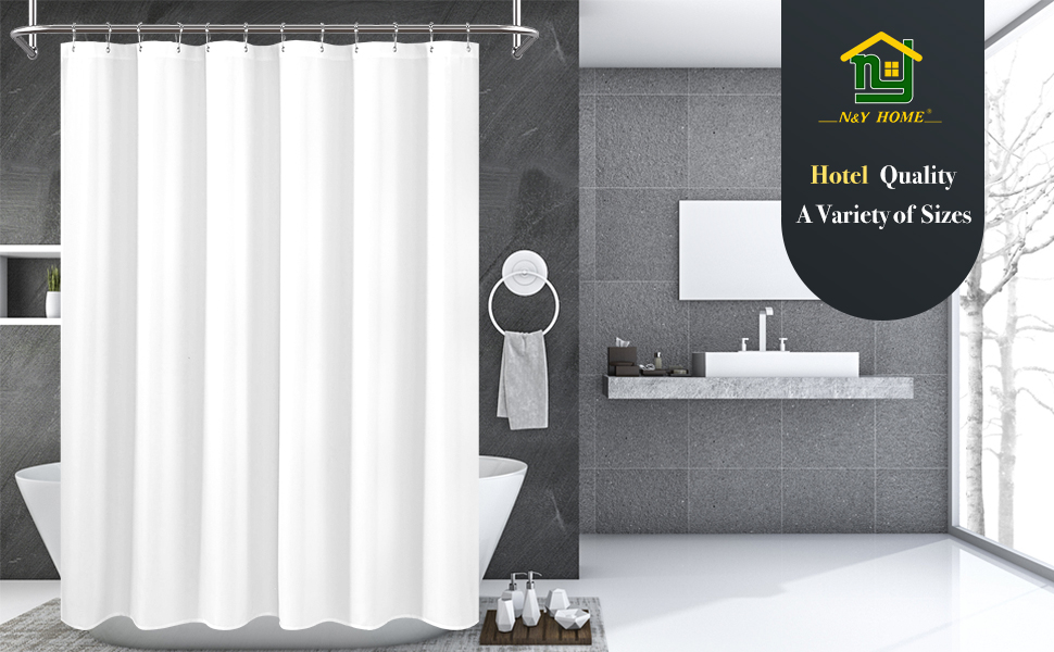 Hotel Quality, N/&Y HOME Fabric Shower Curtain Liner Solid White with Magnets