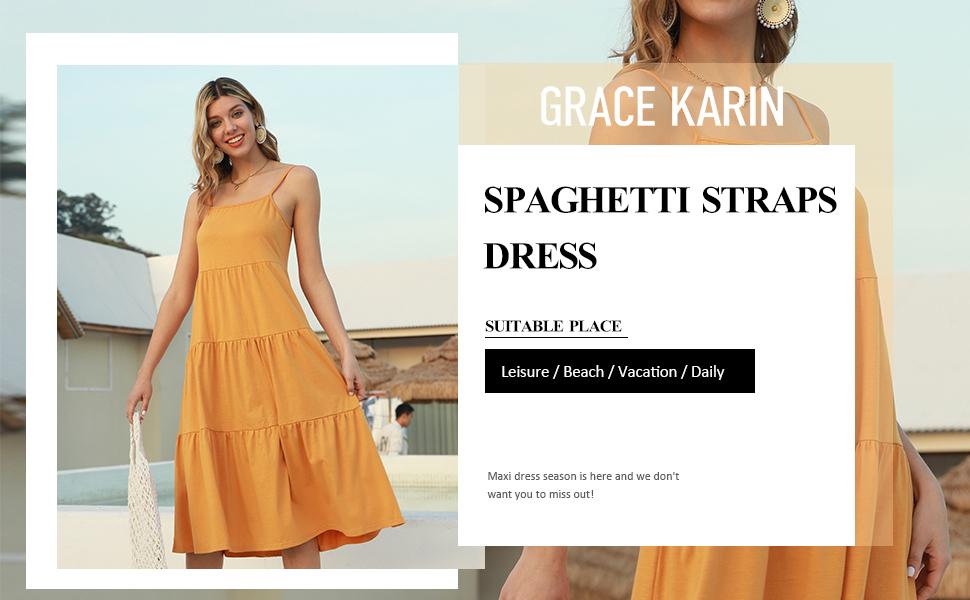 spaghetti strap maxi dress for women summer
