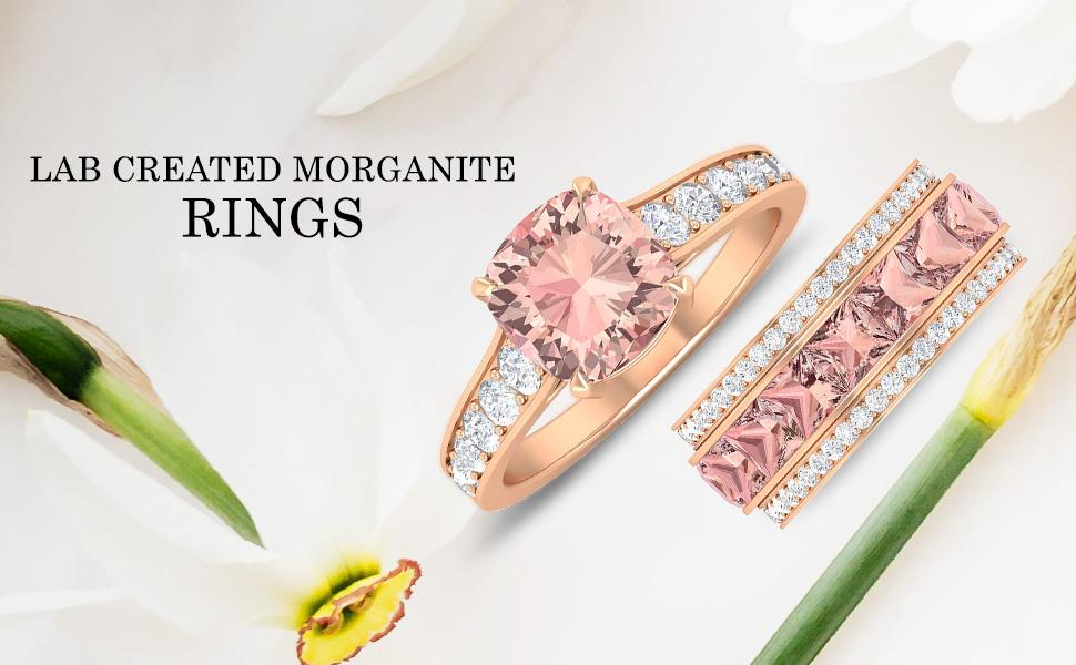 banner Lab Created Morganite Rings