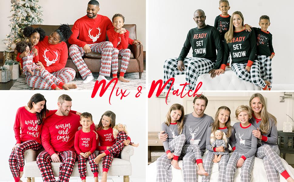 Webuyii Family Matching Christmas Pyjamas Set Plaid Unisex Family Jammies Holiday Match Pyjamas