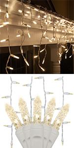 Warm White LED Icicle Lights, M5