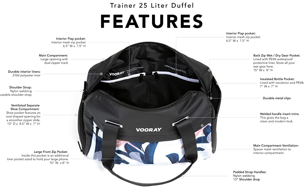 vooray gym duffel shoe pocket womens trainer duffel volleyball dance athletic bag waterproof clothes