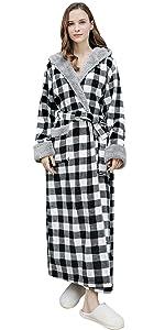 YAOMEI Unsex Mens Womens Dressing Gown Full Length Hooded Bathrobe Robe Housecoat Nightwear