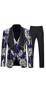 Mens tuxedo suits wedding suit  floral shawl lapel suit