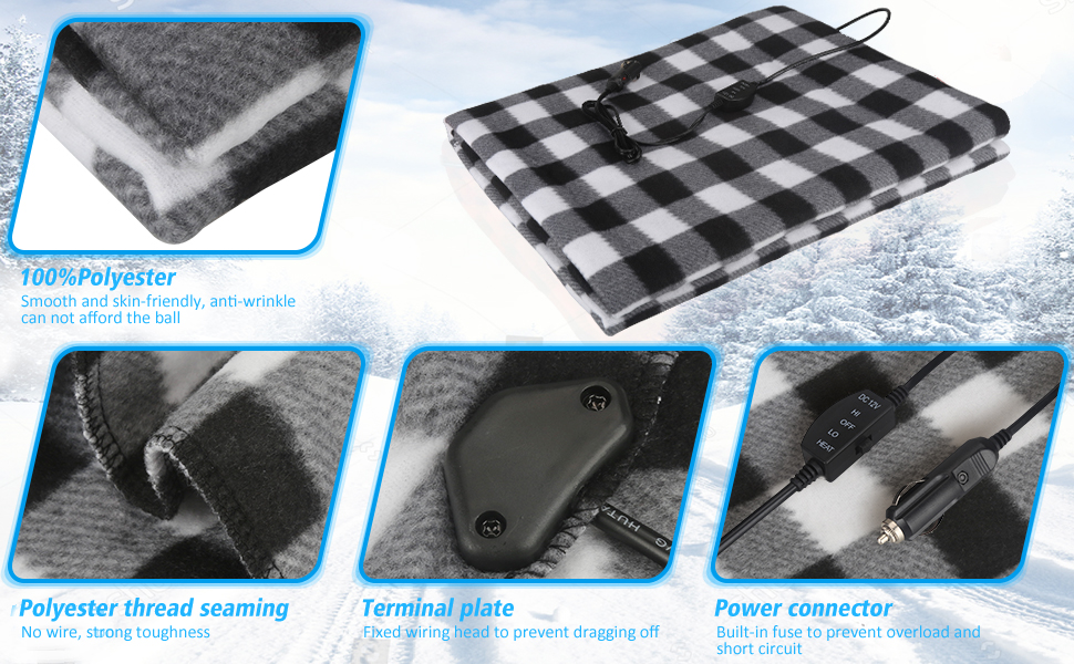 Car Electric Heating Blanket Winter Charging Heater Constant Temperature Built-in Fuse For Safety Non-slip Fabric Smooth Strong And Durable