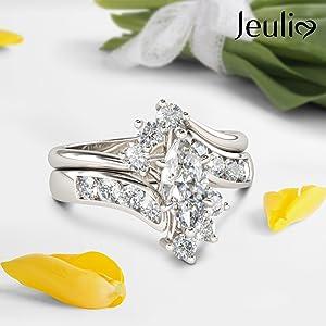 Jeulia 1.5 carat marquise cut bypass wedding ring set  band rings aniniversasry promise engagement