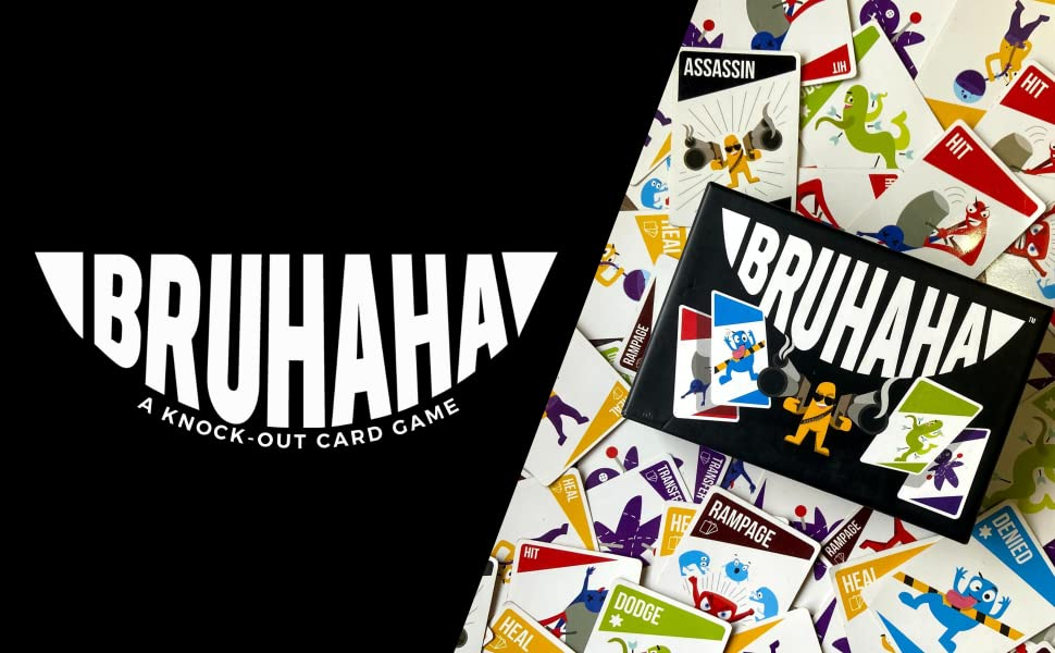 bruhaha card game logo, party game, card game for adults, game for kids