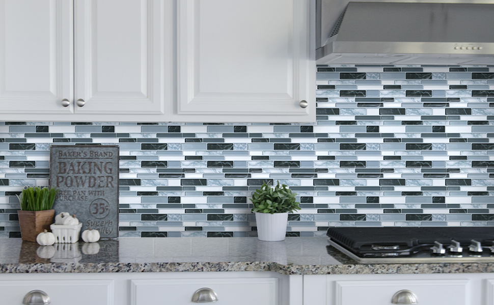 Peel and Stick Wall Tile for Kitchen Backsplash - Aahesive Tile  Backsplash-Kitchen Backsplash Tiles Peel and Stick Wall Stickers 10\'\' x  10\'\' (6 ...