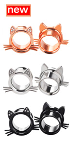 2PCS Cute Kitten Stainless Steel Ear Gauges Tunnels