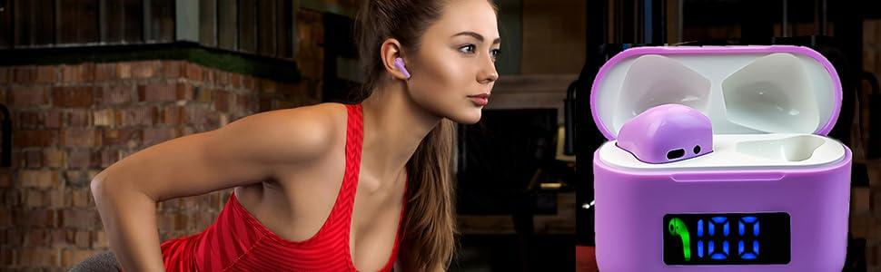earbuds for girls women purple bluetooth