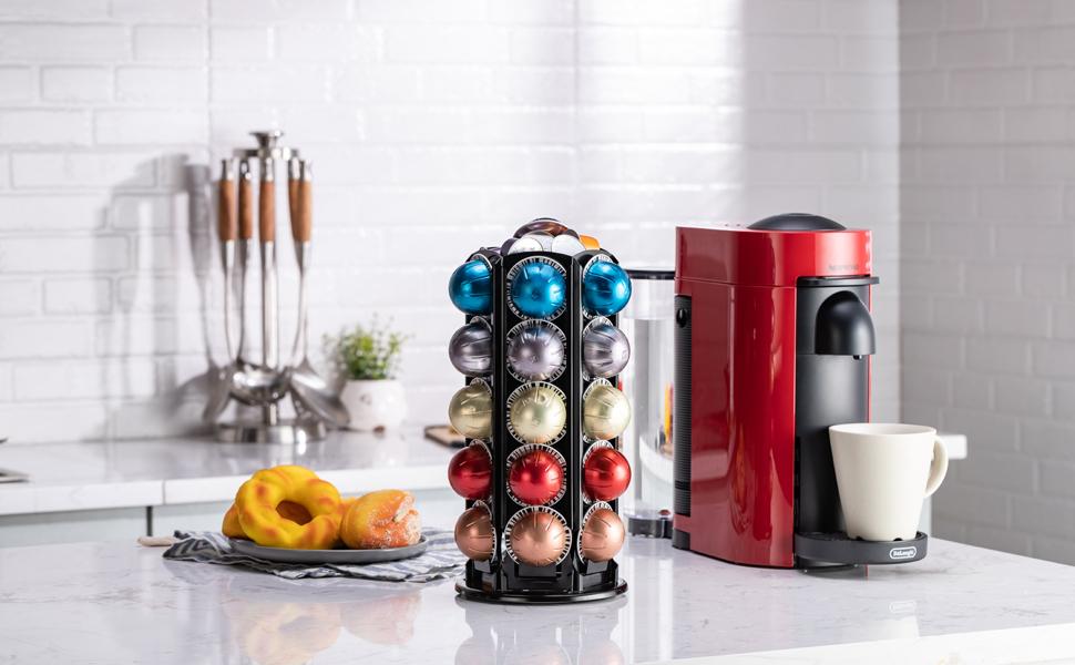 Ruipunuosi Kitchen Coffee Pod Holder Stand Sliding Coffee Capsules Storage Rack Organizer for Home Office