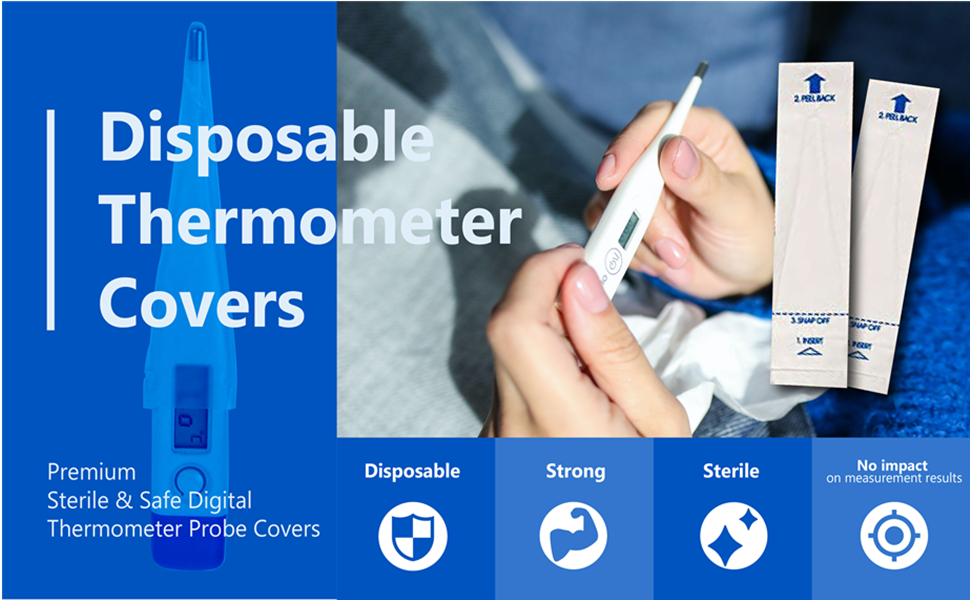 100 pack disposable oral thermometer probe covers for digital universal
