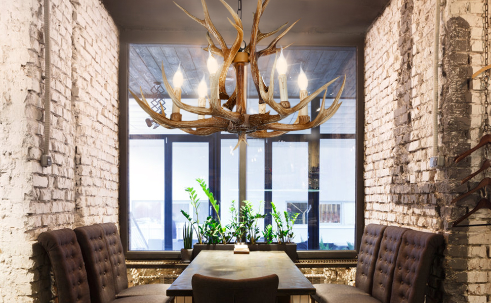 antler chandeliers⸴ our antler ceiling light installation is simpler and faster.