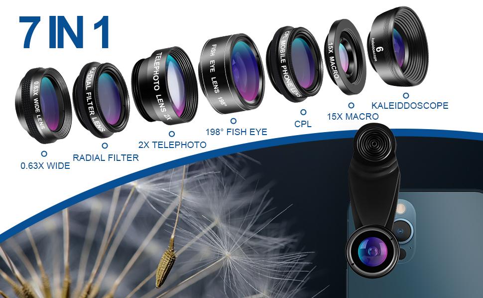 Phone Camera Lens Kit Wide Angle Lens Macro +Fisheye Lens +2X Telephoto Zoom Lens+kaleidoscope/CPL+