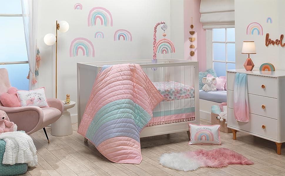 Watercolor Pastel Baby Nursery with Crib Bedding Set